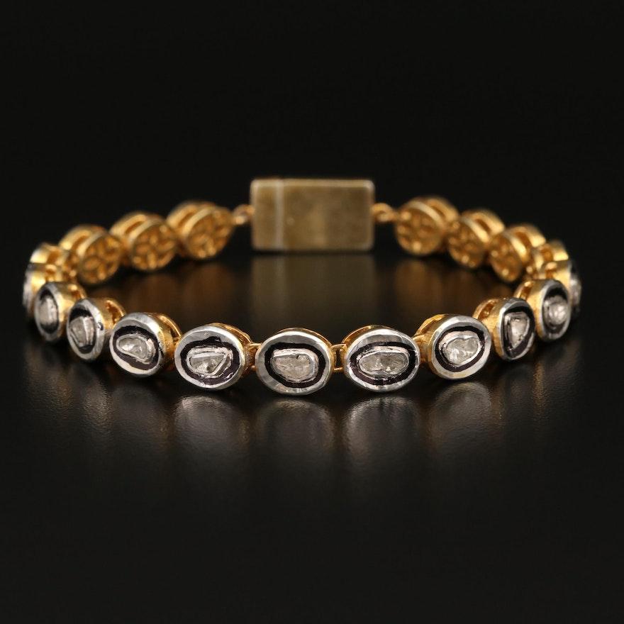 Sterling Diamond and Enamel Bracelet