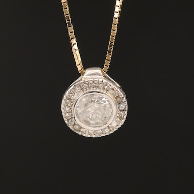 10K Diamond Halo Pendant on 14K Box Link Necklace