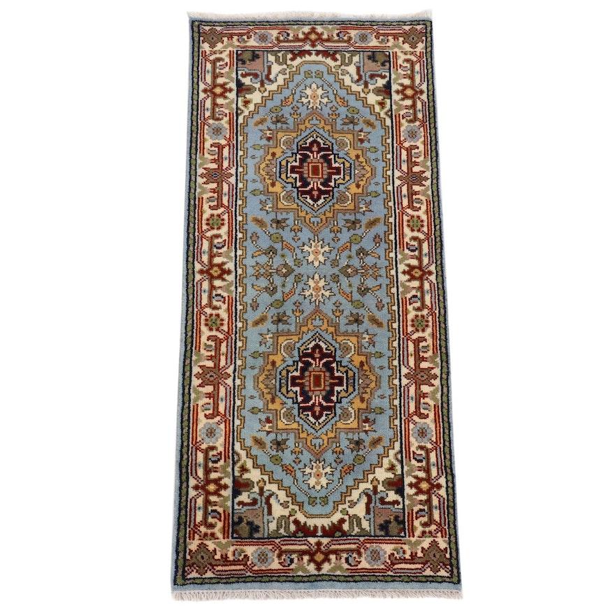 2'7 x 6'1 Hand-Knotted Indo-Persian Heriz Serapi Carpet Runner