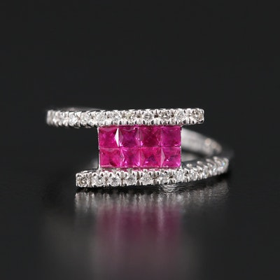 18K Ruby and Diamond Bypass Ring
