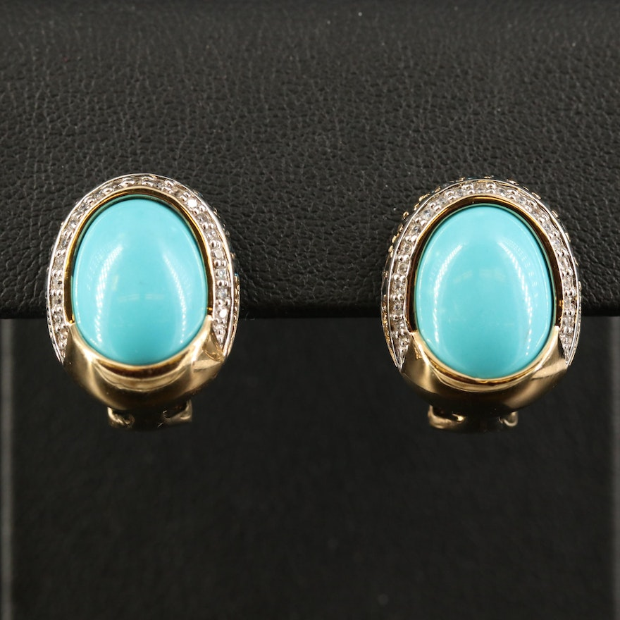 Sterling Turquoise,Topaz and Cubic Zirconia Button Earrings