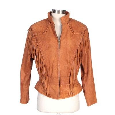Adventure Bound Leather Fringe Zipper-Front Jacket