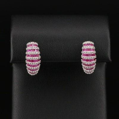 Sterling Silver Ruby and Topaz Earrings