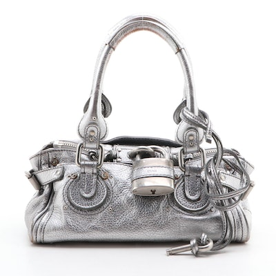 Chloé Mini Paddington Satchel Bag in Metallic Grained Leather