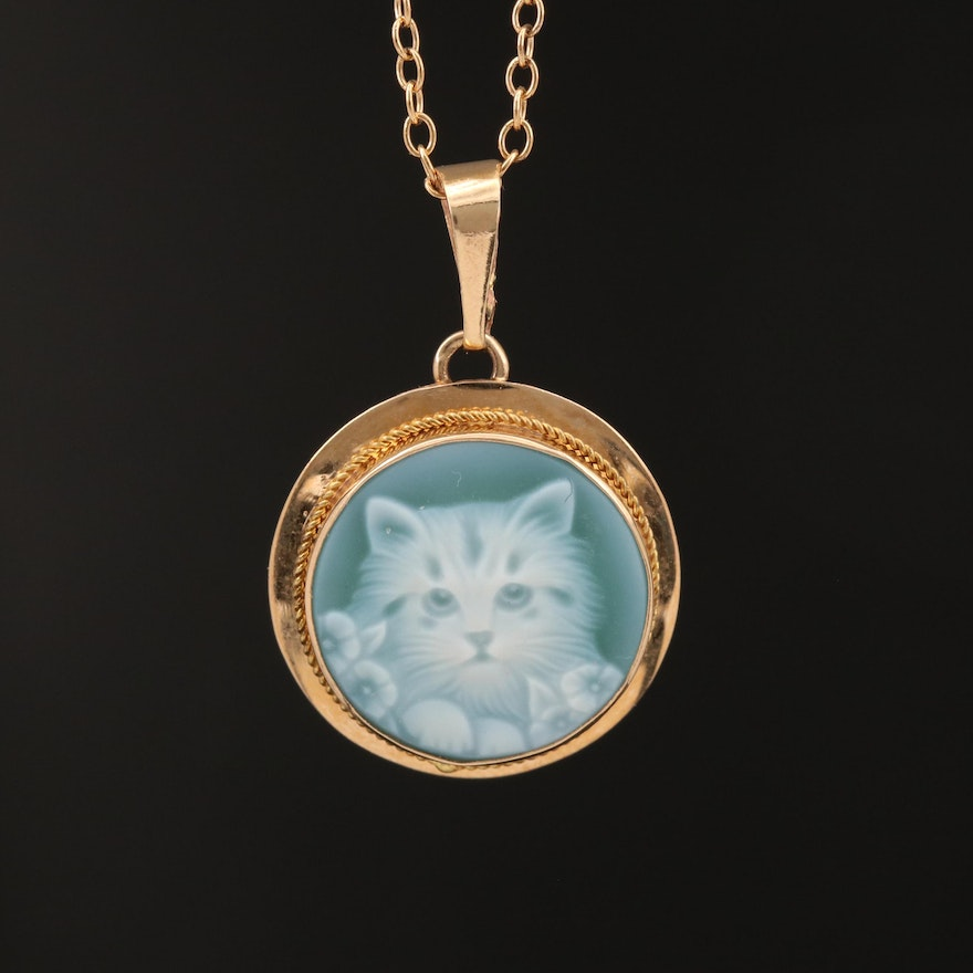 14K Agate Cat Cameo Pendant on Gold Filled Cable Chain Necklace