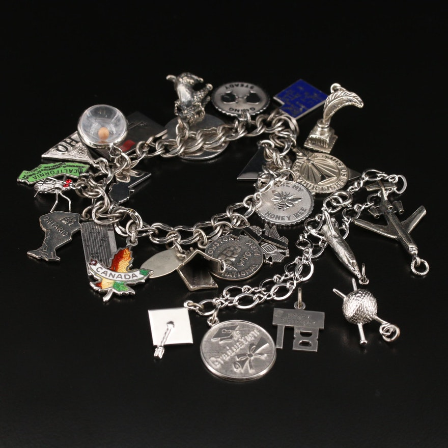 Vintage Sterling Rhinestone and Enamel Charm Bracelets with Extra Charms