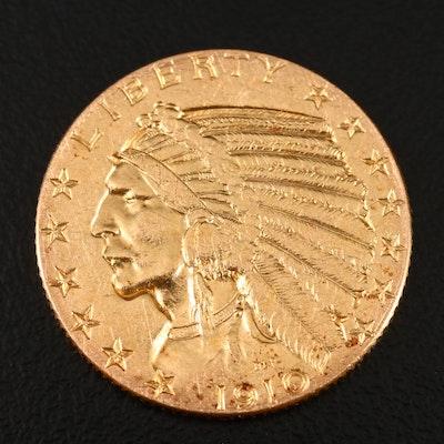 1910 Indian Head $5 Gold Half Eagle
