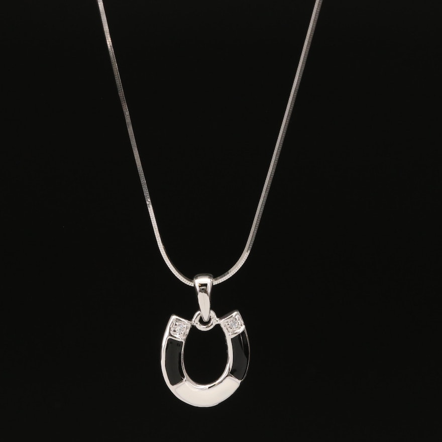 Sterling Silver Cubic Zirconia and Enamel Horseshoe Pendant Necklace