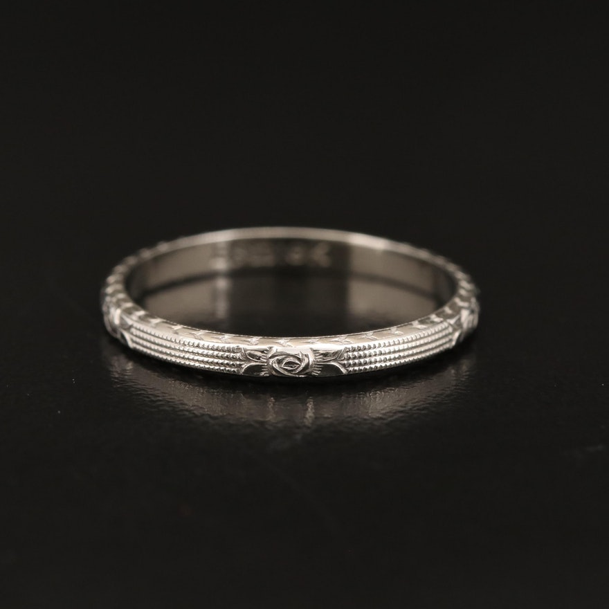 18K Textured Floral Band
