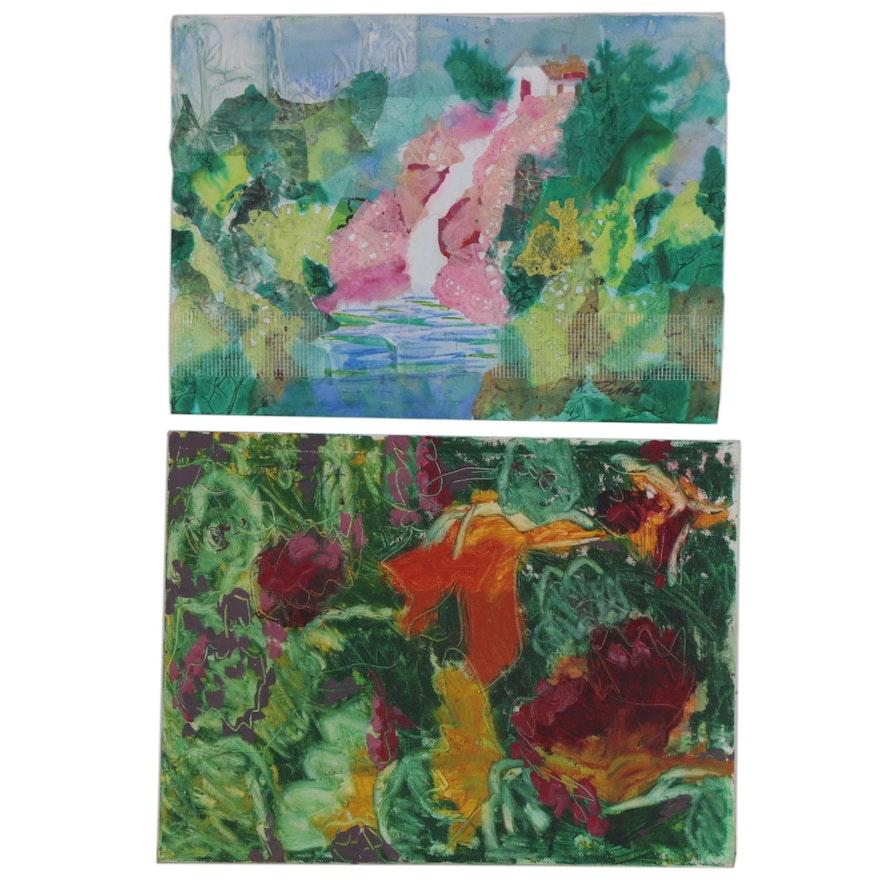 Kathleen Zimbicki Abstract Acrylic Painting and Mixed Media Collage