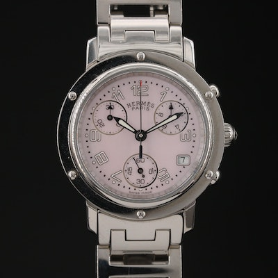 "Hermès ""Clipper"" Chronograph Stainless Steel Quartz Wristwatch"