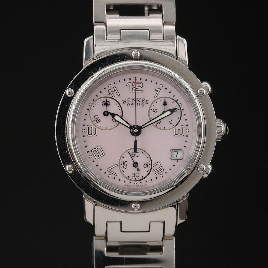 "Hermès ""Clipper"" Chronograph Stainless Steel Quartz Wristwatch"