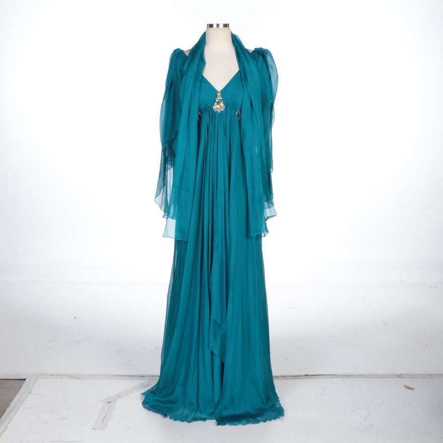 Alberto Makali Teal Silk Butterfly Sleeve Gown with Jewel Accents and Wrap