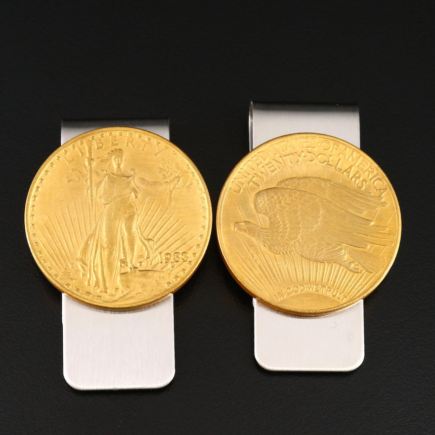 Pair of Replica Saint-Gaudens Double Eagle Money Clips