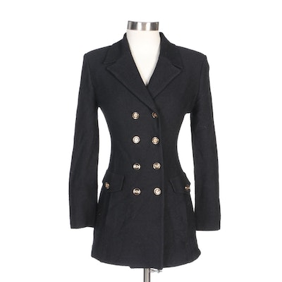 St. John Collection Black Knit Double-Breasted Jacket