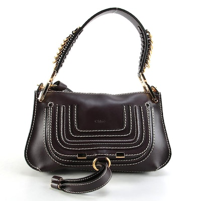 Chloé Marcie Dark Brown Leather Two-Way Saddle Bag with Contrast Stitching