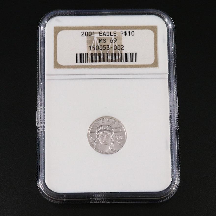NGC Graded MS69 2001 $10 Platinum Eagle