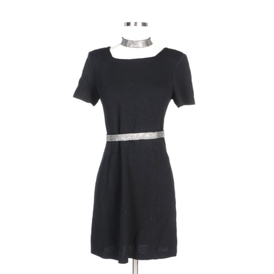 St. John Collection by Marie Gray Black Dress with Rhinestone Belt and Necklace