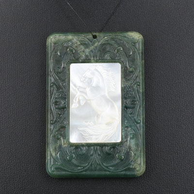 Serpentine and Carved Mother of Pearl Rectangular Pendant