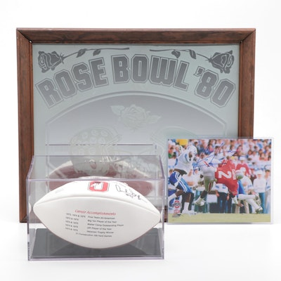 Archie Griffin and Chris Carter Signed Football, Print with Rose Bowl Mirror