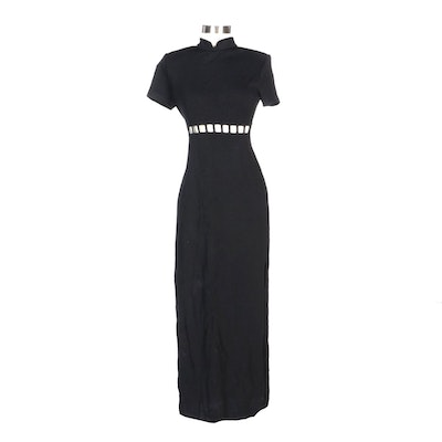 St. John Evening Cutout Black Knit Short Sleeve Evening Dress