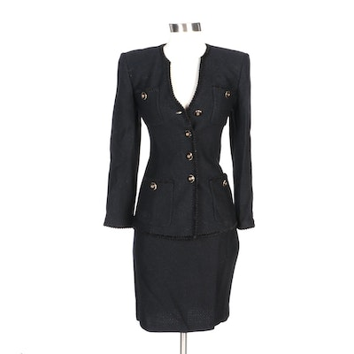 St. John Collection by Marie Gray Black Knit Skirt Suit