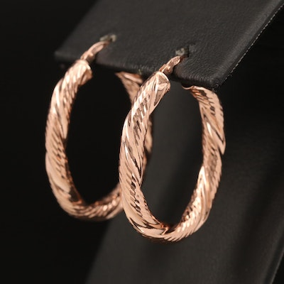 Sterling Twisted Oval Hoop Earrings