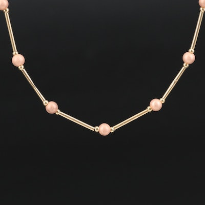 14K Yellow and Rose Gold Beaded Station Necklace