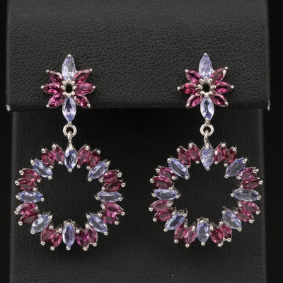 Sterling Silver Tanzanite and Garnet Earrings