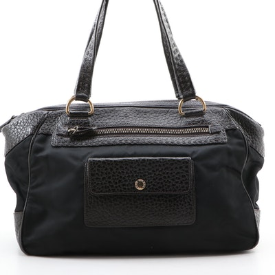 Prada Tessuto and Grained Leather Shoulder Bag
