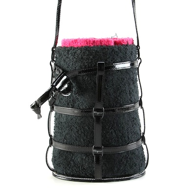 Salvatore Ferragamo Black/Magenta Terry Cloth Cage Bucket Bag