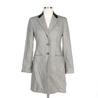 Lauren Ralph Lauren Wool Tweed and Lambskin Collar Coat