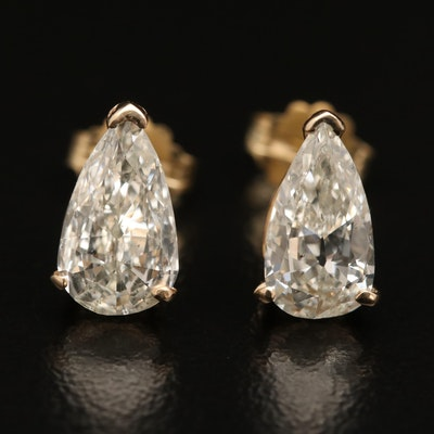 14K 2.12 CTW Diamond Stud Earrings with GIA Dossiers
