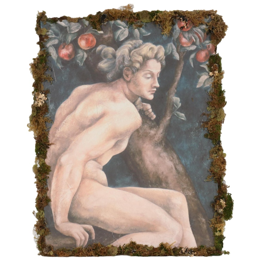 Giclée with Fiber Lining of Male Nude in Apple Tree