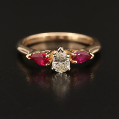 14K Diamond and Ruby Ring