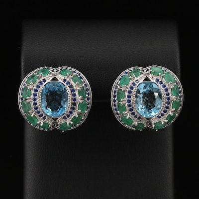 Sterling Silver Topaz, Emerald and Cubic Zirconia Earrings