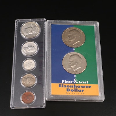 1954 U.S. Mint Coin Set with First & Last Year Issue Eisenhower Dollar Set