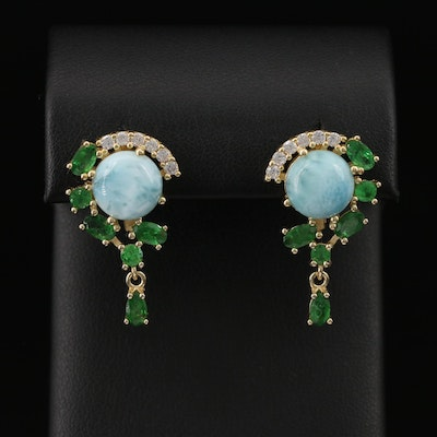 Sterling Silver Larimar, Chrome Diopside and Cubic Zirconia Earrings