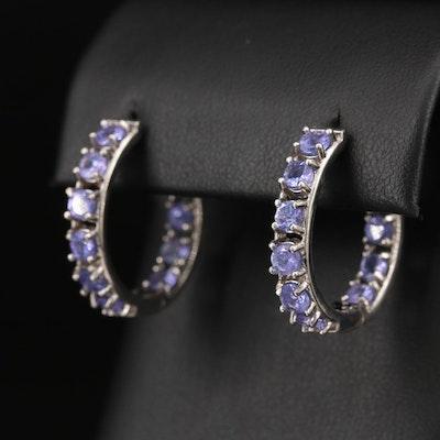 Sterling Silver Tanzanite Inside-Out Hoop Earrings