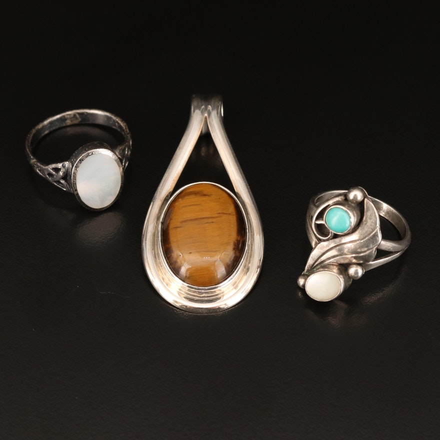 Sterling Rings and Pendant Including Tiger's Eye, Turquoise and Mother of Pearl