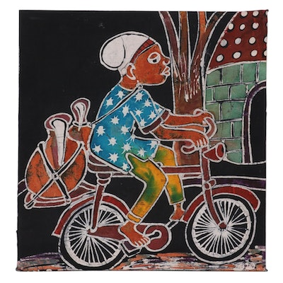 "Lekan O. Nigerian Batik Textile Art ""Way Home,"" 2007"