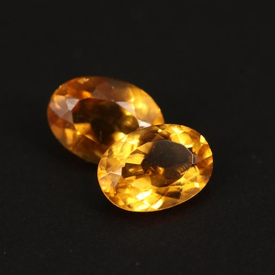 Loose 1.41 CTW Oval Faceted Citrine Gemstones