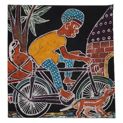 "Lekan O. Nigerian Batik Textile Art ""Riding with Service Dog,"" 2007"