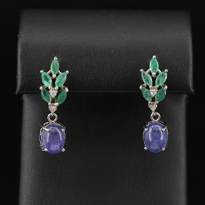 Sterling Silver Tanzanite, Emerald and Cubic Zirconia Dangle Earrings