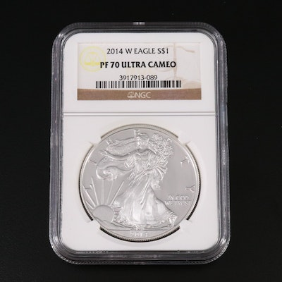 NGC Graded PF70 Ultra Cameo 2014-W Proof $1 American Silver Eagle