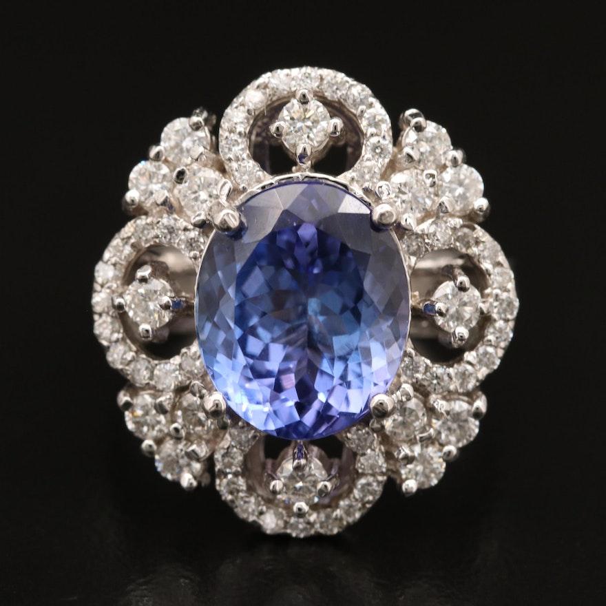 14K 4.45 CT Tanzanite and 1.07 CTW Diamond Ring