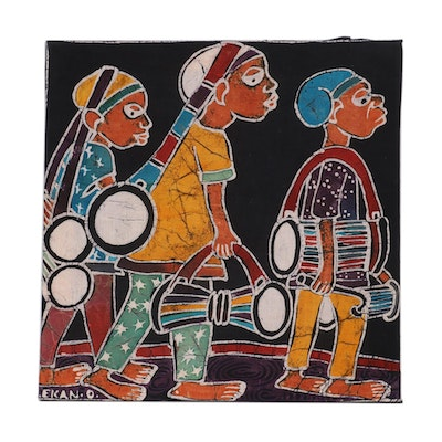"Lekan O. Nigerian Batik Textile Art ""Return of Drummers,"" 2004"