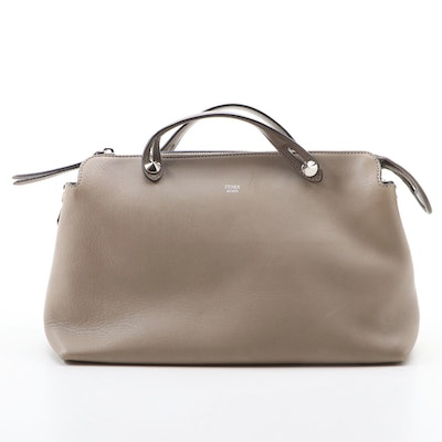Fendi By The Way Taupe Leather Handbag with Stud Accents