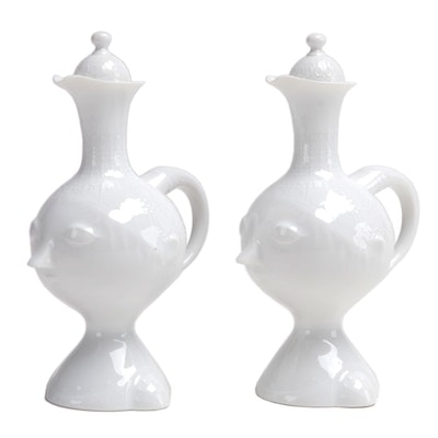 Bjørn Wiinblad for Rosenthal Face-Shaped Ceramic Cruets, Mid-20th Century