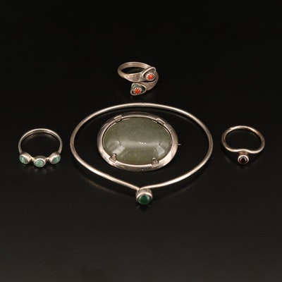 Sterling Brooch, Rings and Cuff Including Coral, Nephrite, Garnet and More